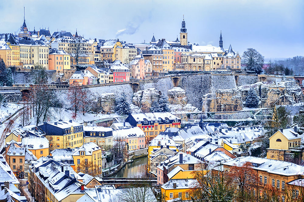 Luxembourg city snow white in winter