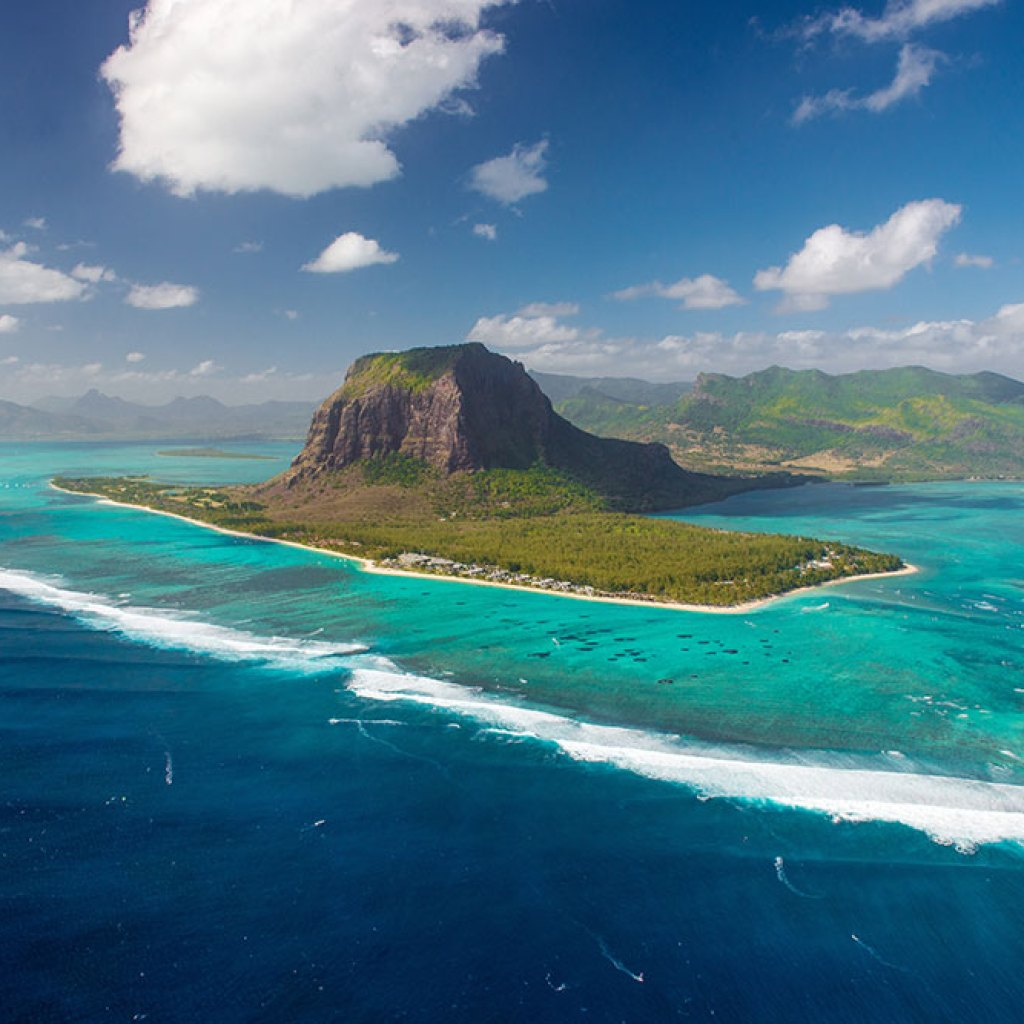 Aerial Mauritius. View on Le Morne mount