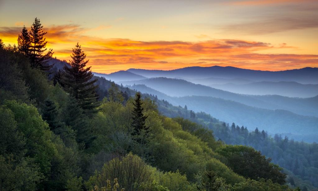 Great Smoky Mountains National Park Scenic Sunrise Landscape at Oconaluftee Overlook between Cherokee NC and Gatlinburg TN