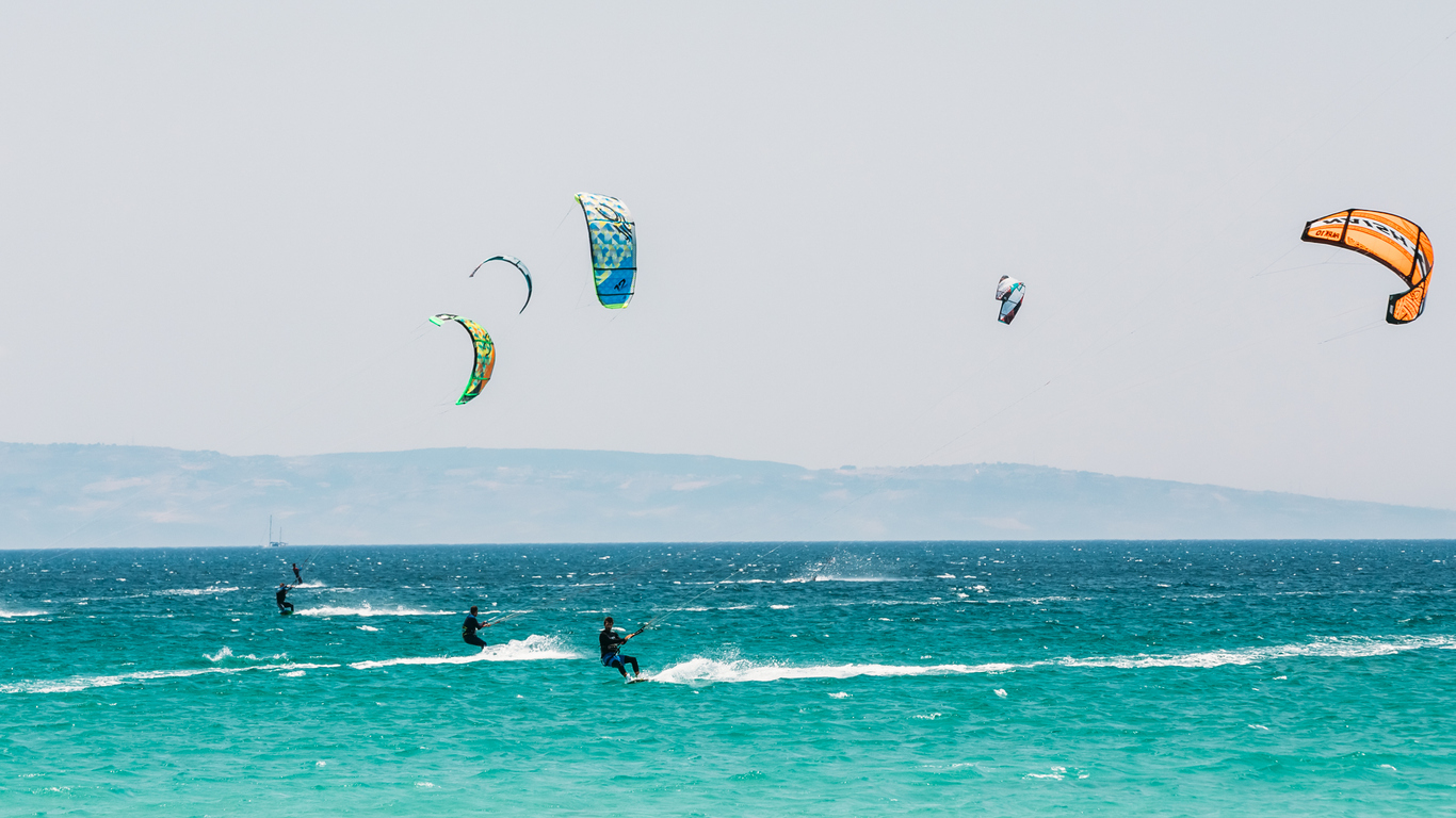 Kite surfing in Tarifa, Spain. Tarifa is the most popular places in Spain for kitesurfing.