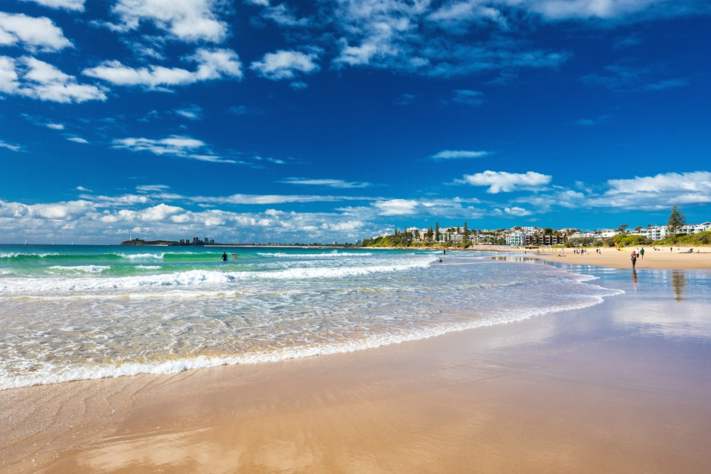 Mooloolaba beach - a famous tourist destination in Queensland, Australia.