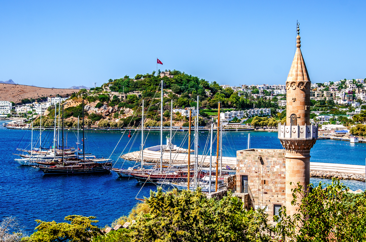 Ships in the bay of Bodrum. Mugla. Turkey