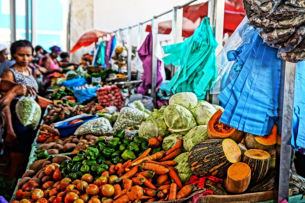 The fresh market in Praia on Santiago Island