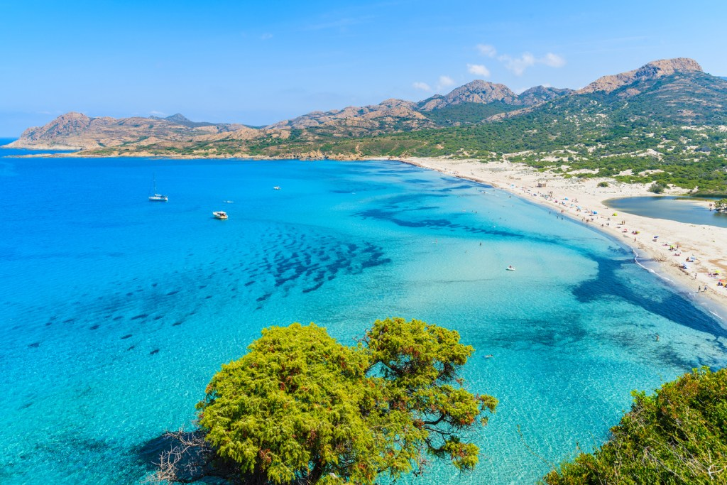 View of Ostriconi beach with beautiful sea lagoon, Corsica island, France