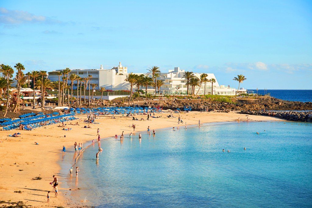 Panoramic view of Playa Blanca, the beautiful landscape of Lanzarote