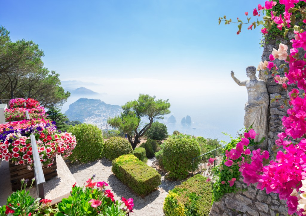 View from mount Solaro of Capri island at summer day, ItalyView from mount Solaro of Capri island at summer day, Italy