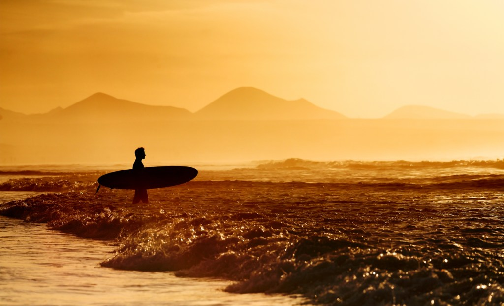 Lanzarote Surfer silhouette at Famara Beach