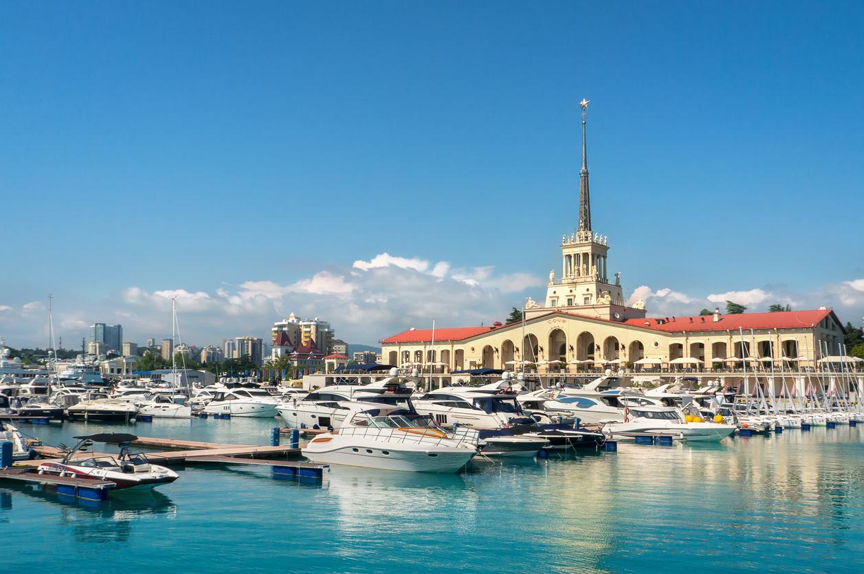 Sochi, Russia. Yachts and pleasure boats on the Black Sea.