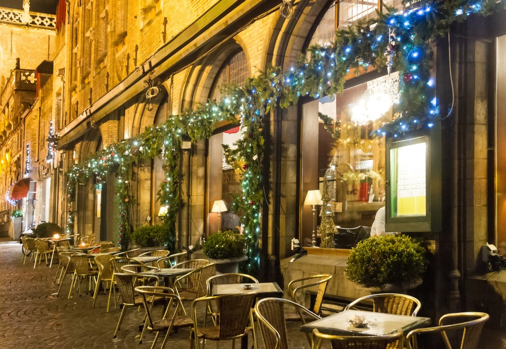 One of the many cafes of Bruges, decorated for Christmas