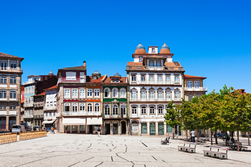 Toural Square (Largo do Toural) is one of the most central and important squares in Guimaraes, Portugal