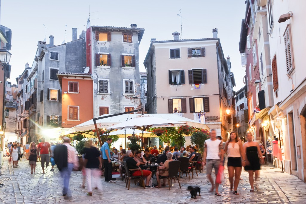 People walking in streets of Rovinj