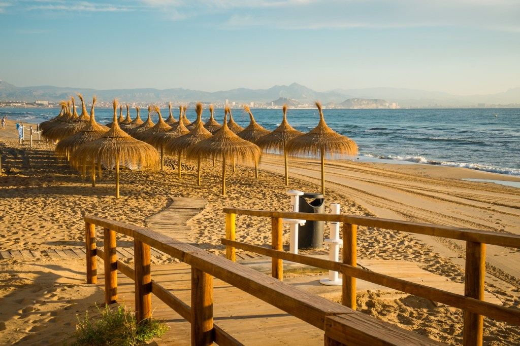 The wooden walkway down to sandy Santa Pola beach, Costa Blanca, Spain