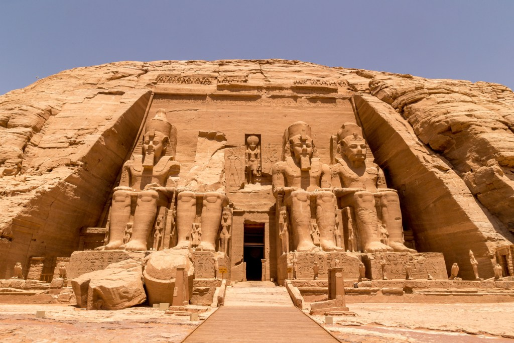 The front of the Abu Simbel Temple, Aswan, Egypt