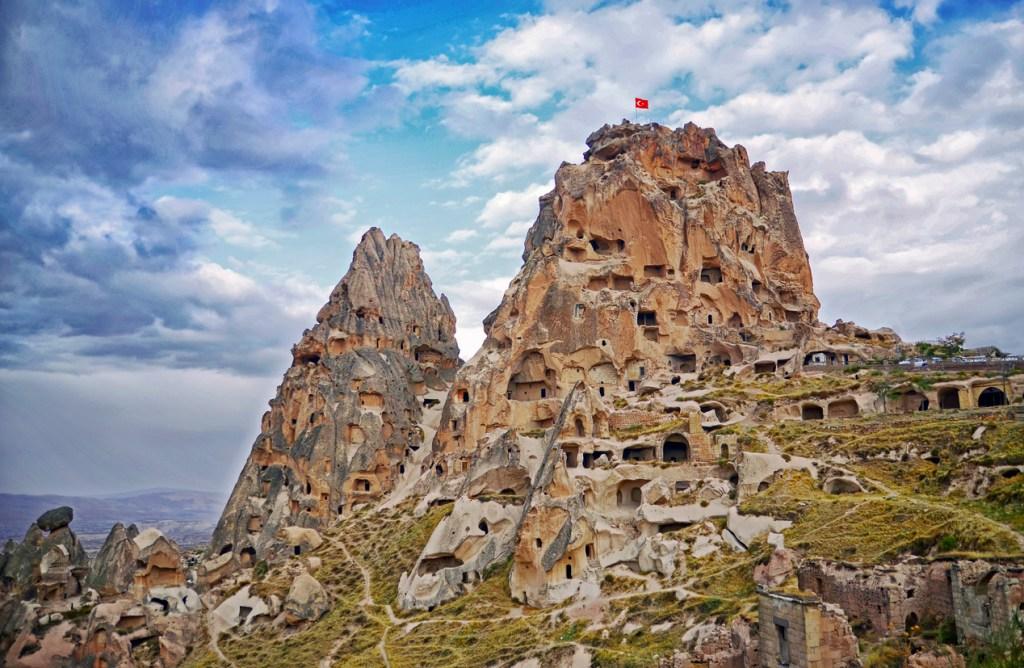 Uchisar castle in Cappadocia, Central Anatolia, Turkey
