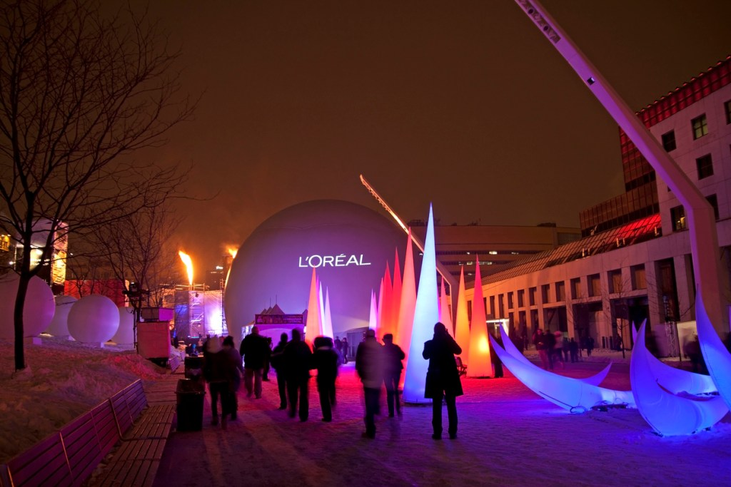 Crowd gathering for a show at the Quartier des Spectacles in Montreal, during the annual High Lights Festival (MontrAal en LumiAre)