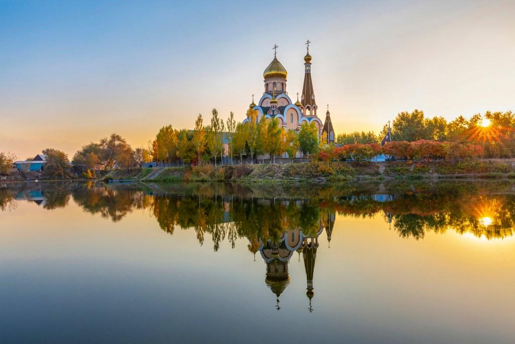 Reflections of the Russian Orthodox Church in Almaty, Kazakhstan