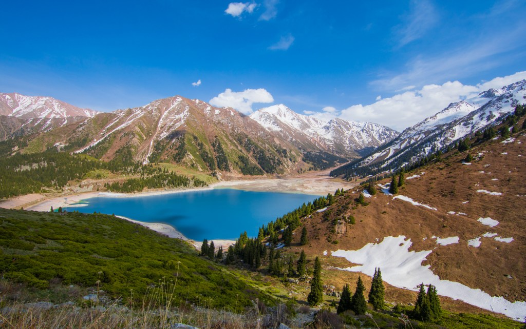 Tien Shan mountains, mountain lake, peaks, Big Almaty Lake, Kazakhstan
