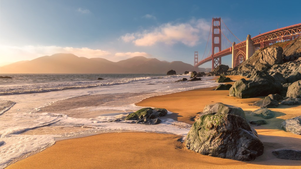Beach and Golden Gate Bridge at Sunset in San Francisco