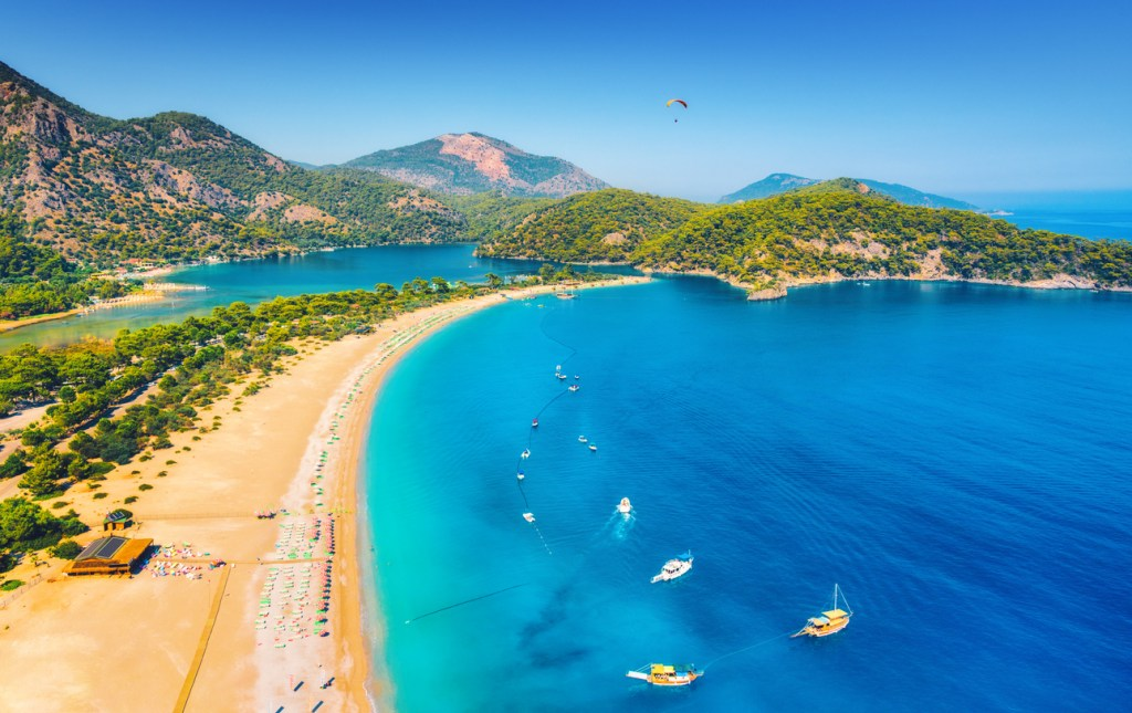 Amazing aerial view of Blue Lagoon in Oludeniz, Turkey.
