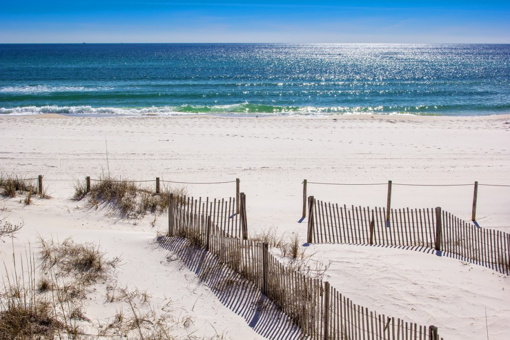 Beautiful white sandy beaches and the Gulf of Mexico at Panama City Beach