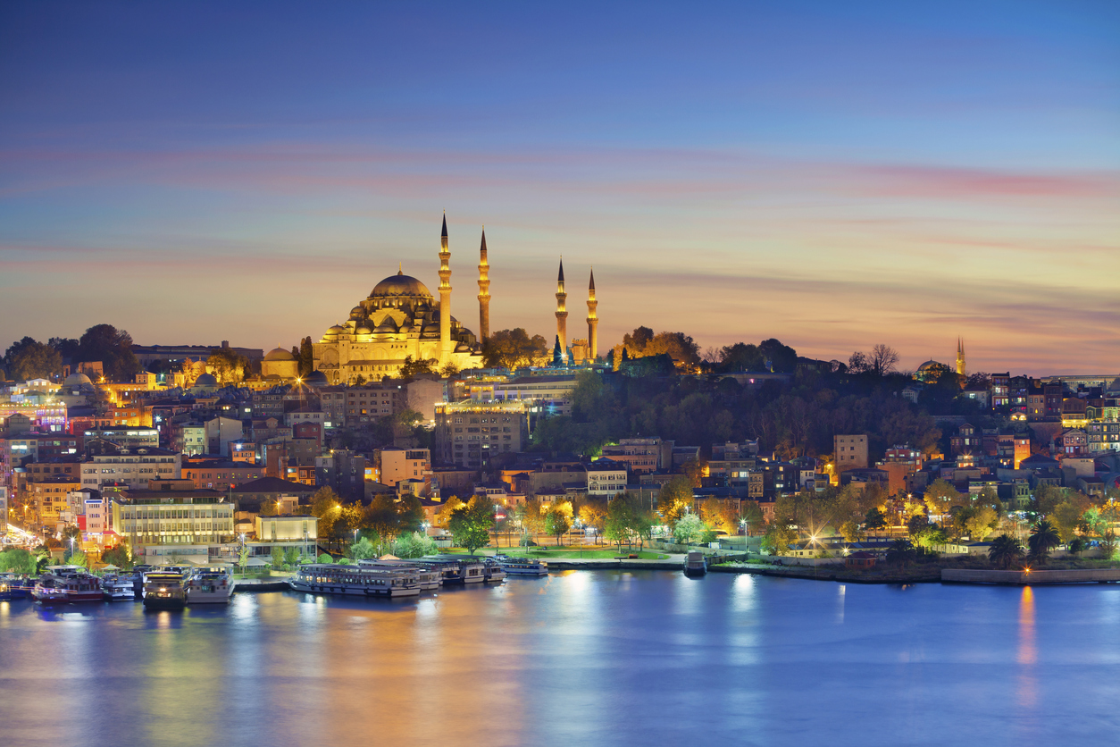 Istanbul with Suleymaniye Mosque during sunset.