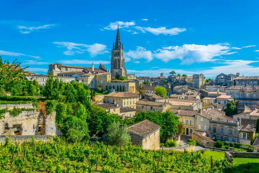 French village Saint Emilion dominated by spire of the monolithic church