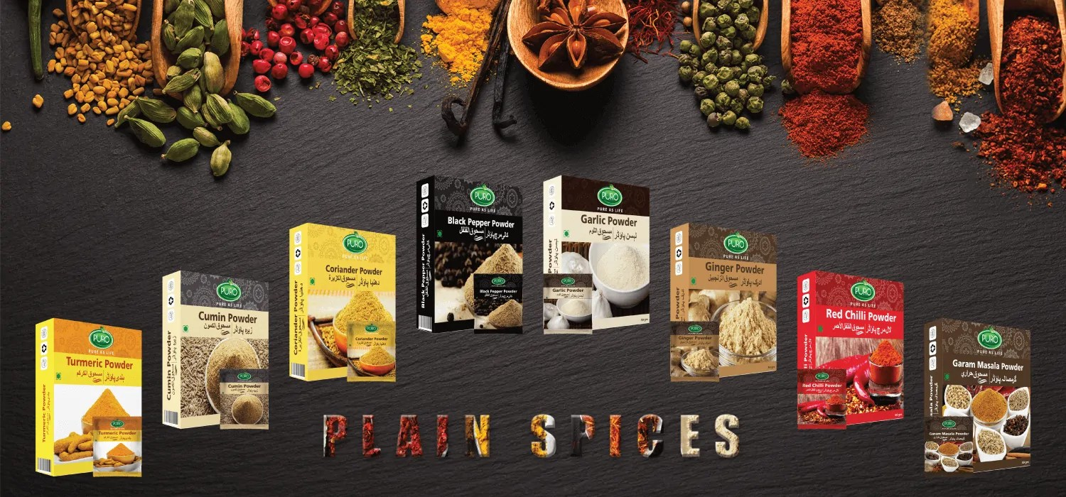 Plain Spice Range (Puro Black Pepper Powder, Puro Cumin Powder, Puro Coriander Powder, Puro Garam Masala, Puro Red Chili Powder, Puro Turmeric Powder, Puro Garlic Powder, Puro Ginger Powder), Healthy Salt Range (Puro Healthy Salt, Puro Table Salt, Healthy Iodized Salt, Unbleached Salt), Vinegar Range (Puro White Vinegar, Puro Apple Vinegar and Puro Mix Fruit Vinegar), Puro Food Mixed Ketchup Range, Puro Mayonnaise, Puro Mashroob-e-Shirin (Red Syrups) Refreshing Syrups (ice cream, Puro Anar Sharbat, Puro Malta Sharbat, Puro Sharbat-e-Sandal, Puro Falsa Sharbat, Puro Sharbat-e-Badam, Puro Sharbat Imli Aaloo Bokhara, Puro Sharbat Elaichi), Arq-e-Gulab (Rose Water), Ispaghol Husk, Honey, Green tea, Puro Oils (Almond oil, Mustard oil, Olive oil) Puro Wheat Porridge, Puro Shell Shaped Macaroni, Vermicelli