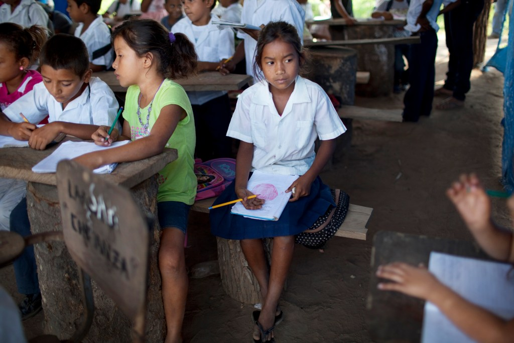 "In this May 7, 2012 photo, children attend a class in a makeshift classroom in ""La Confianza"" peasant model city, Bajo Aguan, Honduras. Peasants from MUCA (Movimiento Unificado Campesino del Bajo Aguan) occupied around 7000 sq meters of productive land close to the city of Tocoa in the Valley of Bajo Aguan, eastern coast of Honduras in December, 2009. They operate a comercial production of african palm and they also stablished what they call a ""peasant model city"" called ""La Confianza"" where more than 300 hundred families live. Since then an open conflict between them and the alleged owner of the land, Miguel Facussé, one of the most powerful businessmen in Honduras has left more than 60 people dead including peasants, security guards, a journalist and members of the Honduran national police. (AP Photo/Rodrigo Abd)"