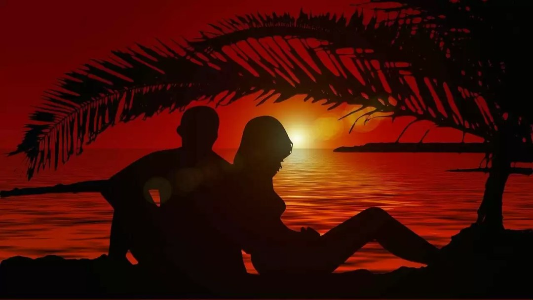 lovers, silhouette, pair