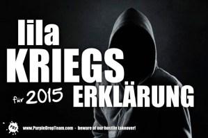Lila Neujahrsgrüße mit Kriegserklärung