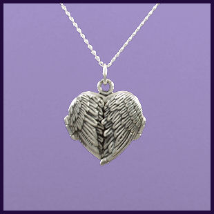 angel wing heart engraved