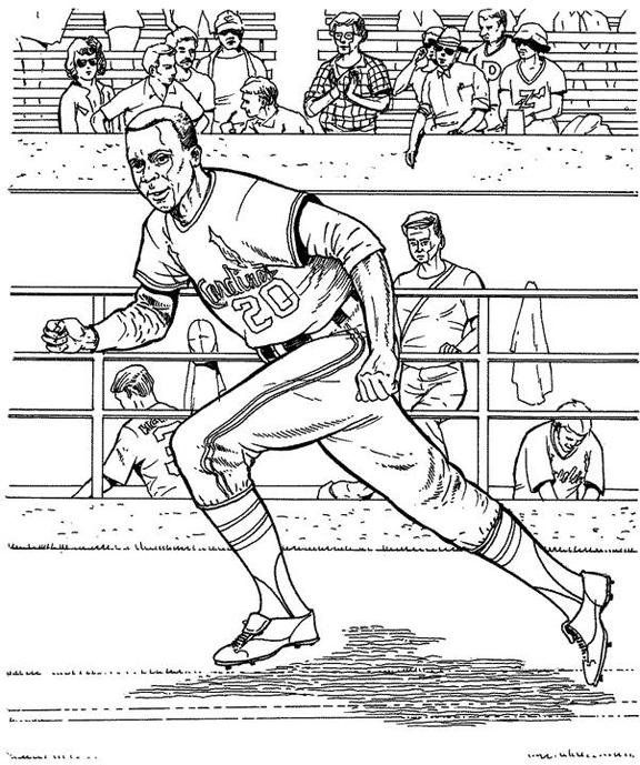 Cardinals Runner Baseball Coloring Page Purple Kitty