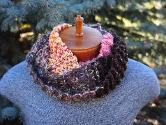 Brown Infinity Scarf, Brown Wool Cowl, Pink Wool Cowl, Hand Knit Infinity Scarf, Hand Knit Pink Cowl, Pink Infinity Scarf, Pink Wool Scarf
