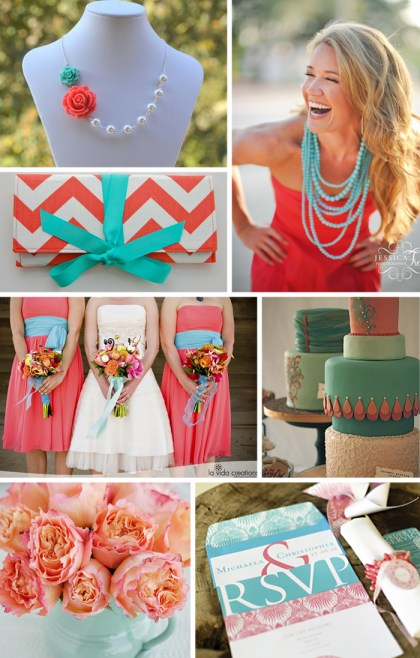 coral and turquoise wedding motif