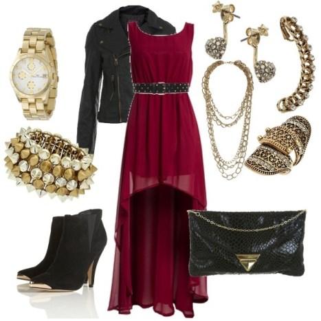 Maroon Mullet Dress