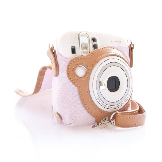 Leather and Tissu Case Bag for Fujifilm Instax Mini 25 - Pink