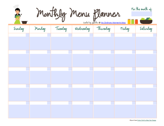 Monthly Menu Planner - Free Printable