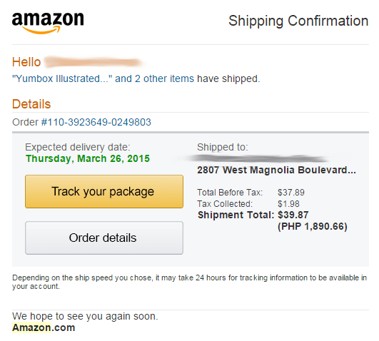 Amazon Shipping Confirmation - My Shopping Box