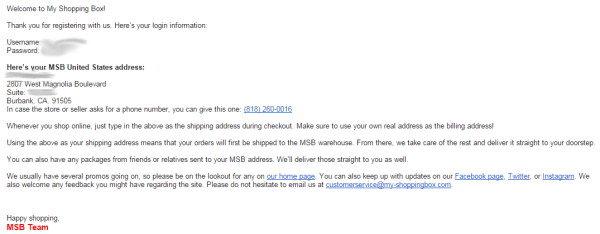 My Shopping Box Registration Email Confirmation
