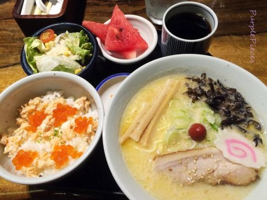 Small Ramen & Grilled Salmon and Salmon Roe Rice Bowl Set (Shio)