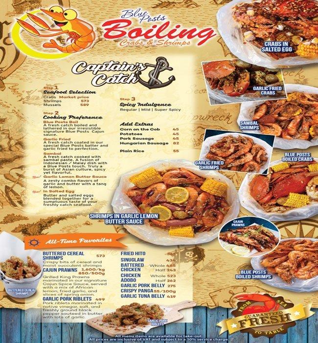 Menu - Blue Posts Boiling Crabs and Shrimps