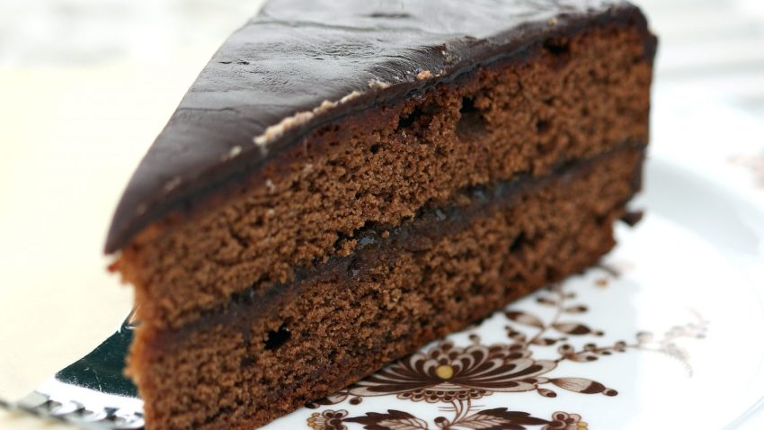 Original Sacher Torte Slice, piece of cake, chocolate, Vienna