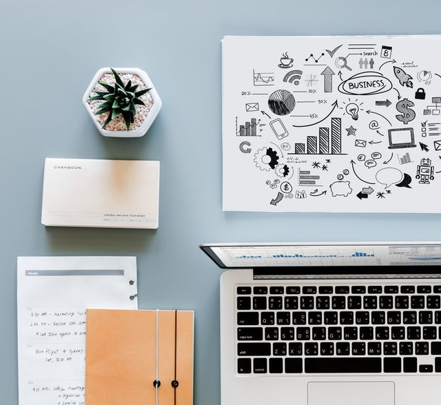 Workplace Success can further your carrier, goal setting, desk with laptop and notes