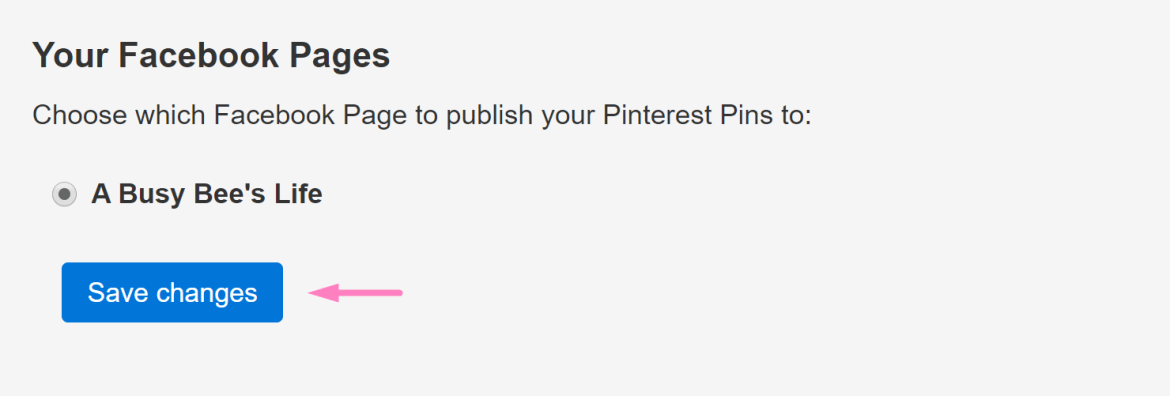 Screenshot Save changes after you tie Pinterest to your Facebook Business Page