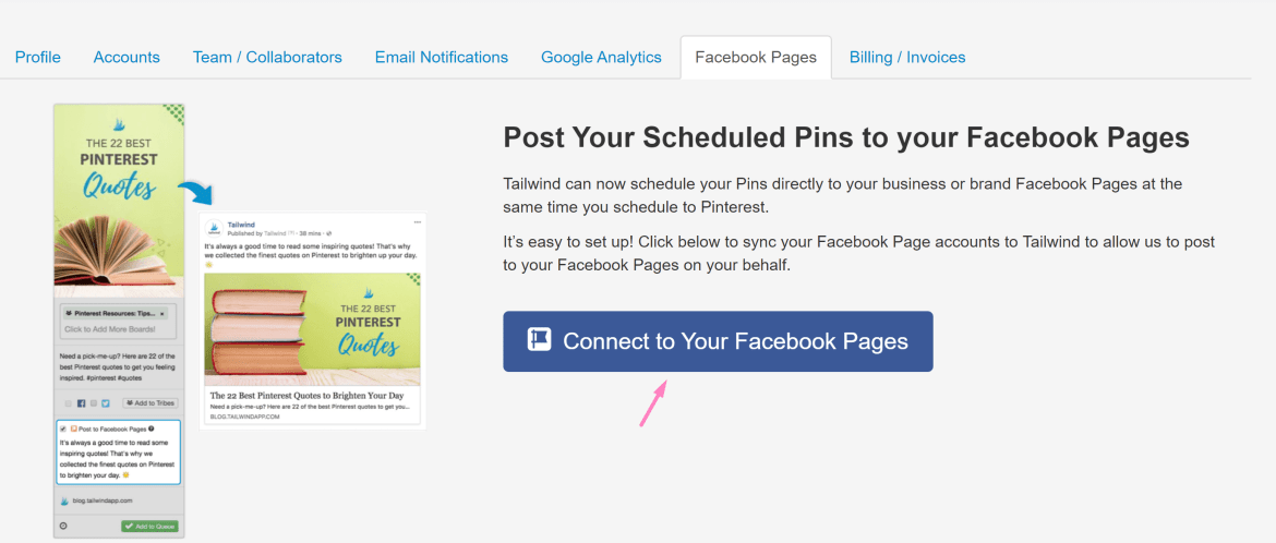 Screenshot Tailwind button to connect Pinterest and Facebook Pages