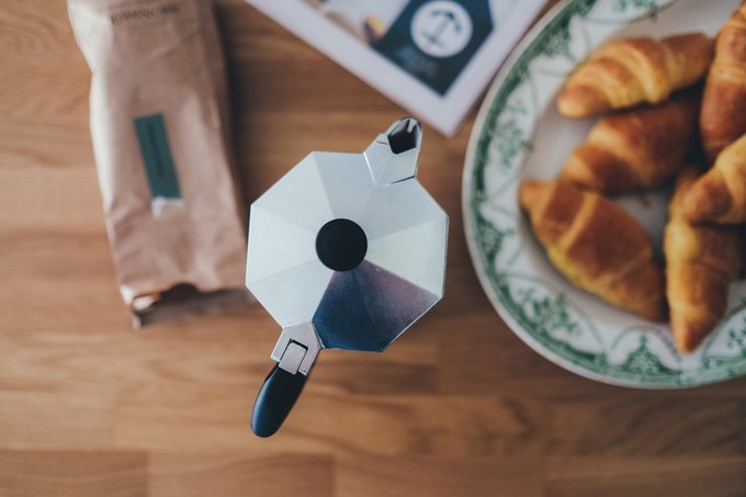 coffee pot, pot for coffee on stove, espresso stoce machine, espresso, abusybeeslife, coffee with croissants