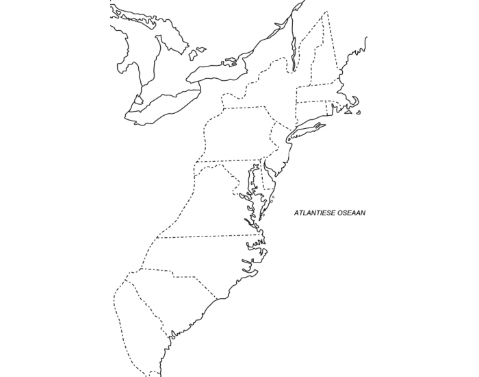 13 Colonies with Cities and Geographical Features