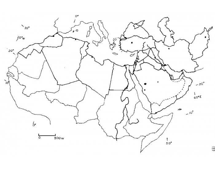 Southwest asia and northern africa physical map
