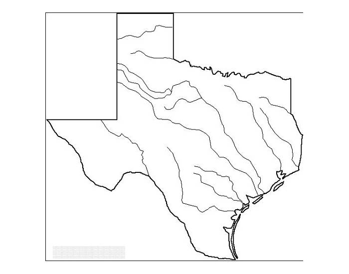 Blank Texas Map With Rivers