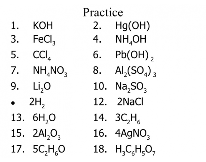 Counting Elements & Atoms in Chemical Formulas Quiz